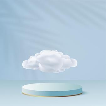 青い色の幾何学的な3d表彰台と抽象的な背景。ベクトルイラスト。