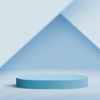 青い色の幾何学的な3d表彰台と抽象的な背景。ベクトルイラスト