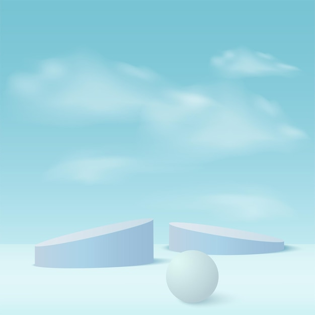 Abstract background with blue color geometric 3d podiums.
