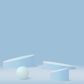 파란색 기하학적 3d 연단으로 추상적 인 배경입니다.