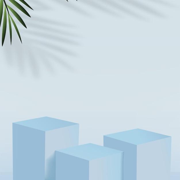 青い色の幾何学的な 3 d 表彰台と抽象的な背景。