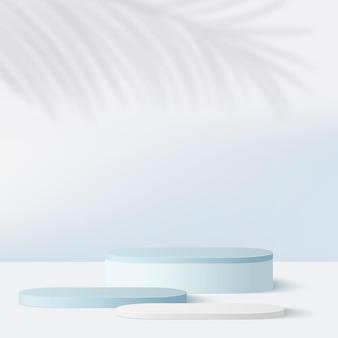 青い色の幾何学的な表彰台と抽象的な背景。