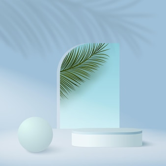 Abstract background with blue color geometric  sky podiums.