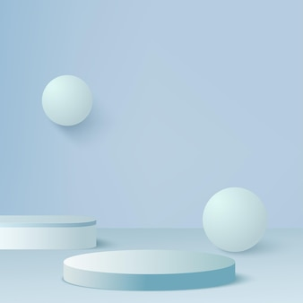 Abstract background with blue geometric 3d podiums. vector illustration.