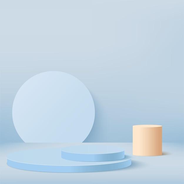 青い幾何学的な表彰台と抽象的な背景。 。