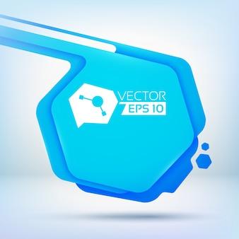 丸みを帯びた角のカラーレイヤーと小さなインク滴のある青い六角形のスポットの抽象的な背景