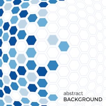 青い六角形の要素を持つ抽象的な背景。ベクトルイラスト。