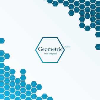 Abstract background with blue hexagons. vector illustration.