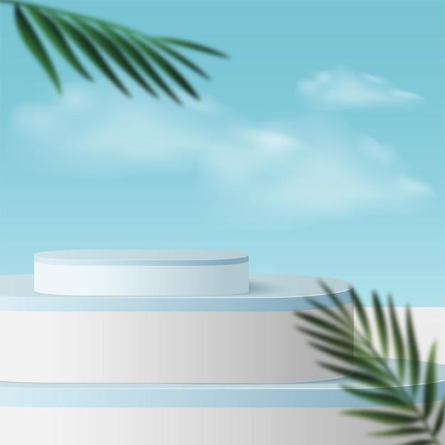 青い空の色の幾何学的な3d表彰台と抽象的な背景。