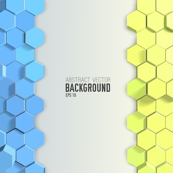 Abstract  background with blue and yellow hexagons