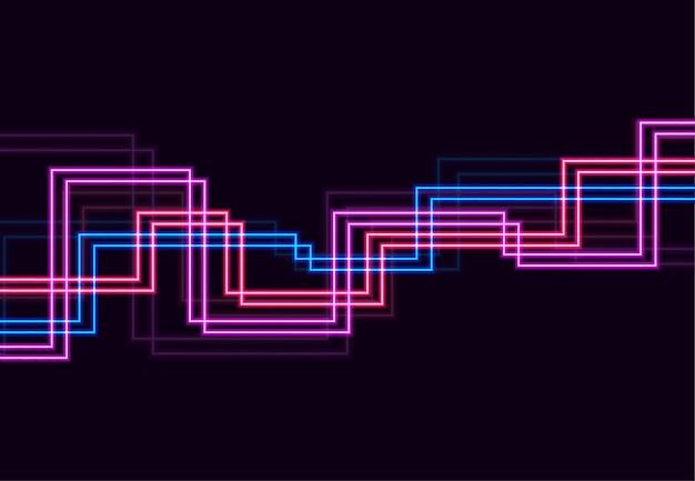 ぼやけた魔法のネオンライト曲線と抽象的な背景。ベクトルイラスト