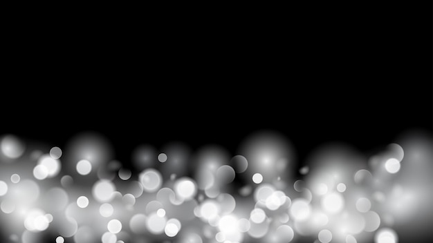 Abstract background with bokeh effect. blurred defocused lights in white colors. white bokeh lights on black background.