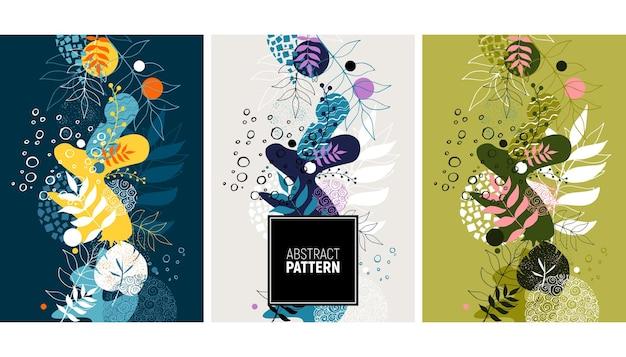 植物の要素と抽象的な背景