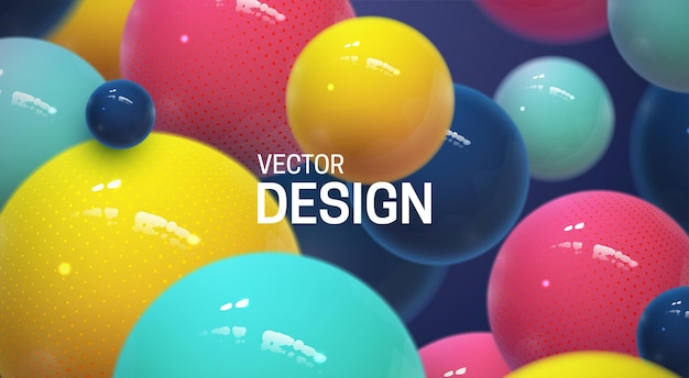 Abstract background with bouncing multicolored 3d spheres