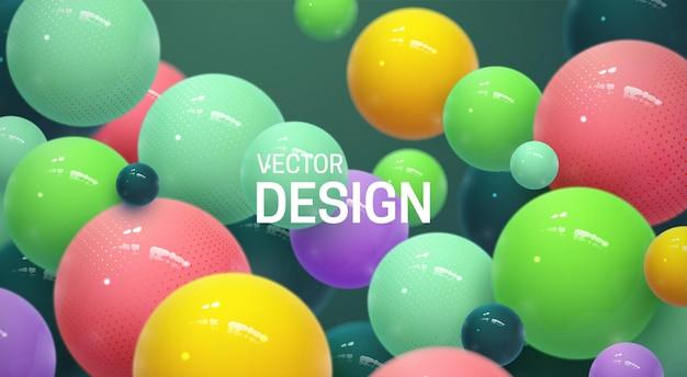 Абстрактный фон с подпрыгивающими разноцветными 3d сферами