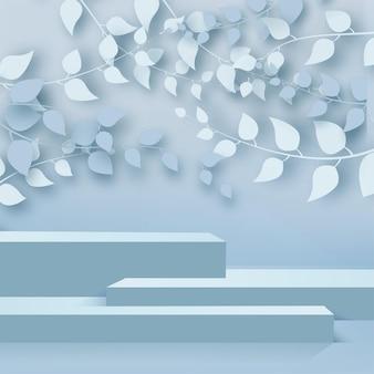 枝と葉と青い表彰台と抽象的な背景。ベクター。