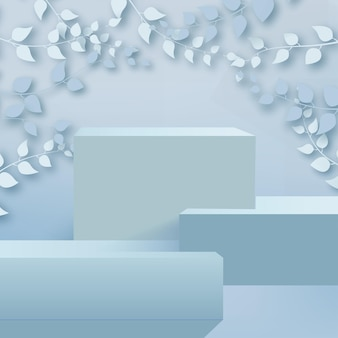 Abstract background with branches and leaves and blue podium. vector.