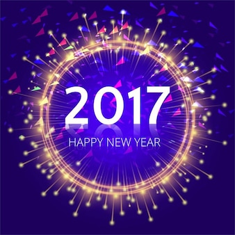 Abstract background with bright circle of 2017