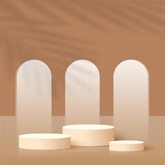茶色の幾何学的な3d表彰台と抽象的な背景。ベクトルイラスト。
