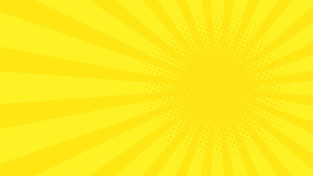 黄色の漫画光線と抽象的な背景。