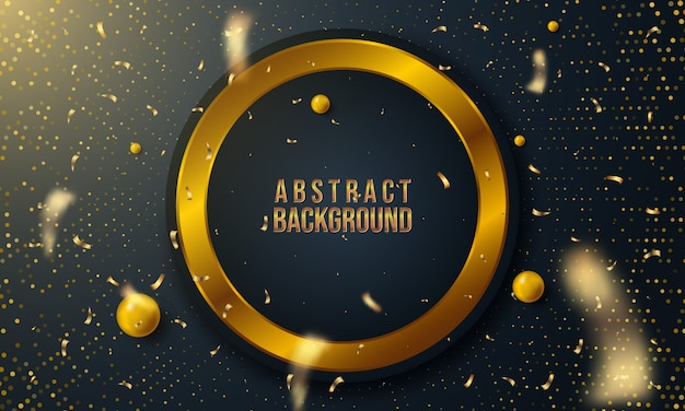 Abstract background with circle layers and golden glittering
