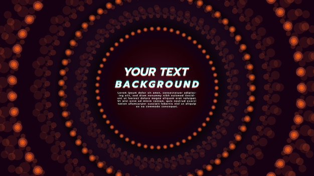 Abstract background with circle neon light in orange