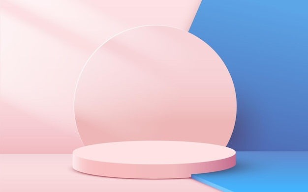 Abstract background with circular podium with leaves on pink and blue