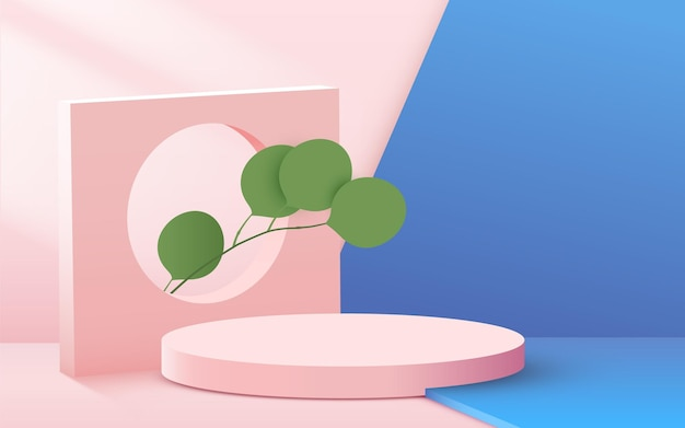 Abstract background with circular podium with leaves on pink