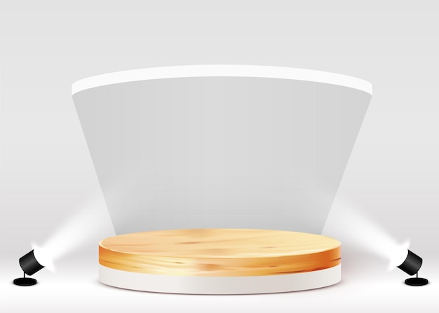 Abstract background with circular wood podium on white