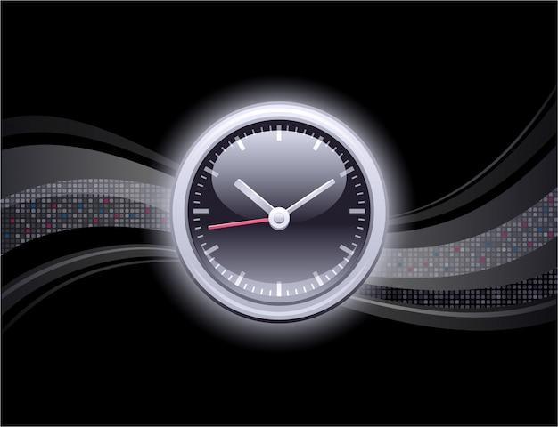 時計と抽象的な背景。ピクセルヴィンテージ時計のデザイン。地球とビジネスの3 dスタイルのグラフィック。黒の背景。