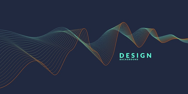 Abstract background with a colored dynamic waves, line and particles. illustration suitable for
