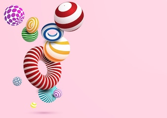 Abstract background with colorful decorative ball and ring.Vector eps10.
