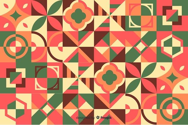 다채로운 기하학적 모자이크와 추상 배경