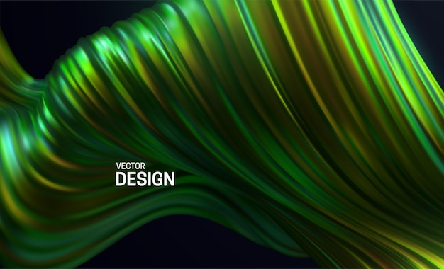 Abstract background with colorful green striped wavy shape