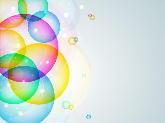 カラフルな透明な円で抽象的な背景。