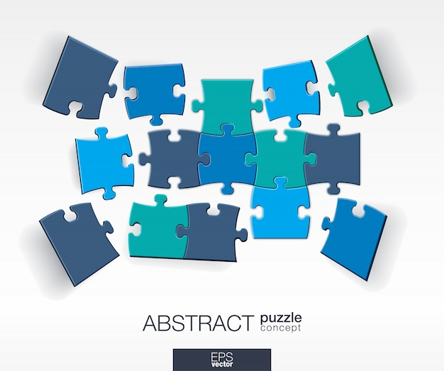 Abstract background with connected color puzzles, integrated elements.  infographic concept with mosaic pieces in perspective.  interactive illustration.