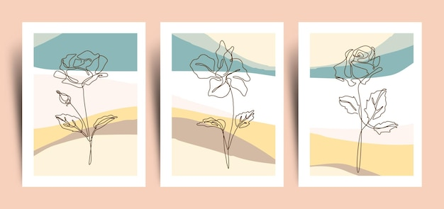 継続的に咲く花のラインアートコレクションと抽象的な背景