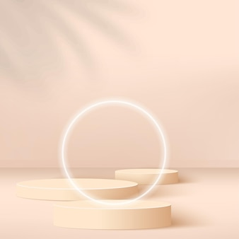 Abstract background with cream color geometric 3d podium.