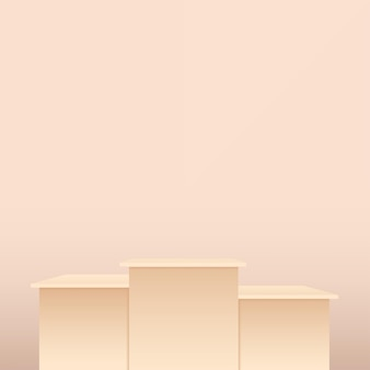 Abstract background with cream color geometric 3d podiums. vector illustration. Premium Vector