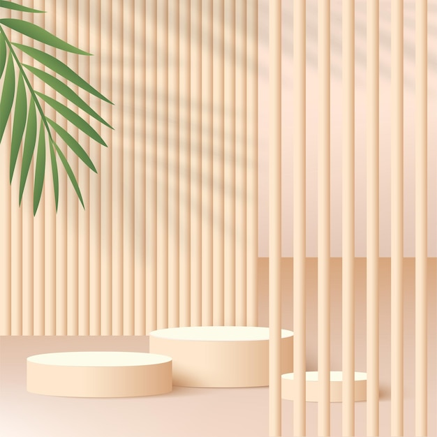 Abstract background with cream color geometric 3d podiums. vector illustration.