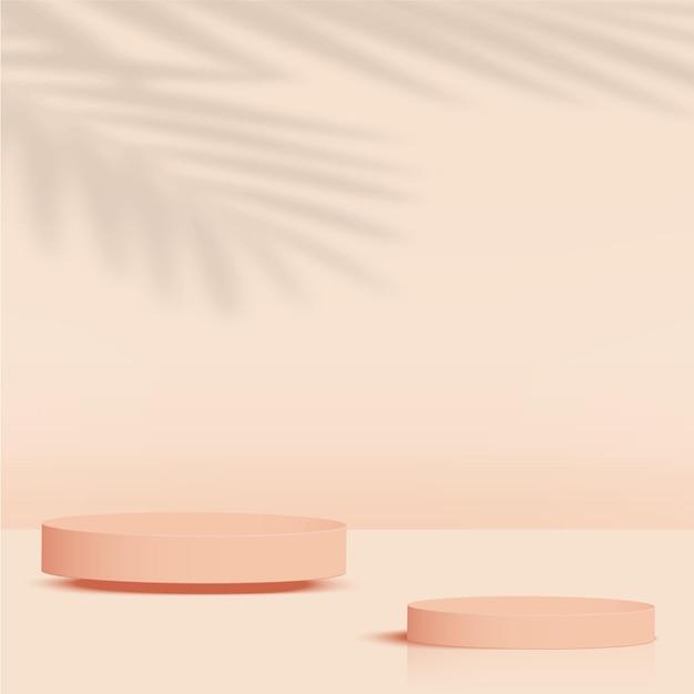 クリーム色の幾何学的な3d表彰台と抽象的な背景。ベクトルイラスト。 Premiumベクター