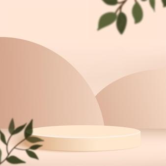크림 색 기하학적 3d 연단으로 추상적 인 배경입니다.