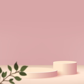 Abstract background with cream color geometric 3d podiums.