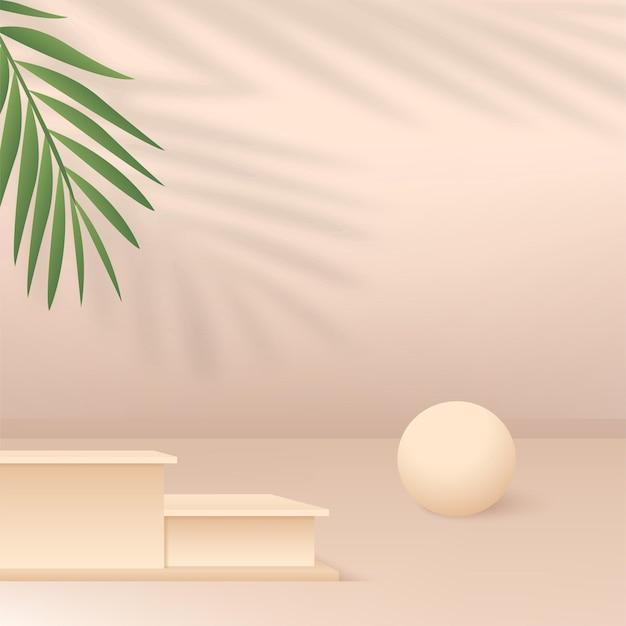 クリーム色の幾何学的な3d表彰台と抽象的な背景