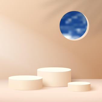 Abstract background with cream color geometric  podiums.
