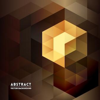 茶色の色調のキューブと抽象的な背景
