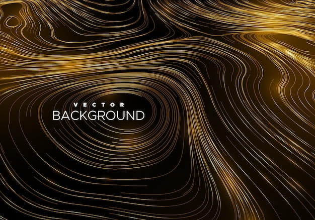 Abstract background with curled linear golden pattern