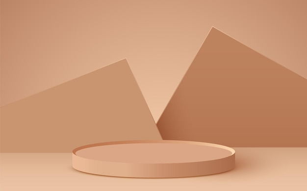 Abstract background with cylinder podium on beige