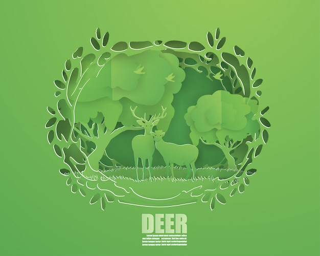 Abstract background with deer couple in green forest