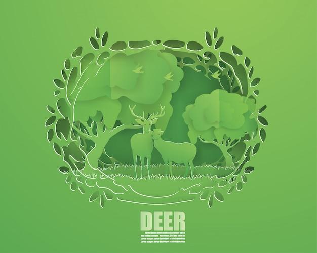 Абстрактный фон с парой оленей в зеленом лесу